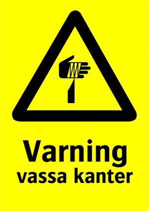 Varning vassa kanter