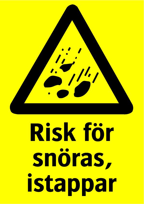 Risk för snöras, istappar