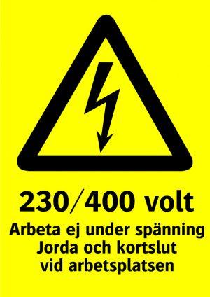 230/400 volt arbeta ej under spänning jorda och kortslut