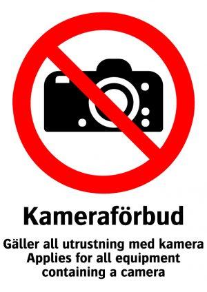 Kameraförbud Gäller all utrusning med kamera