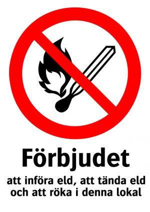 Förbjudet att införa eld, att tända eld och att röka i denna lokal